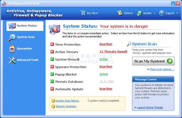 AntiSpywareControl Screenshot