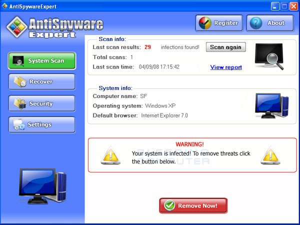 AntiSpywareExpert Screenshot