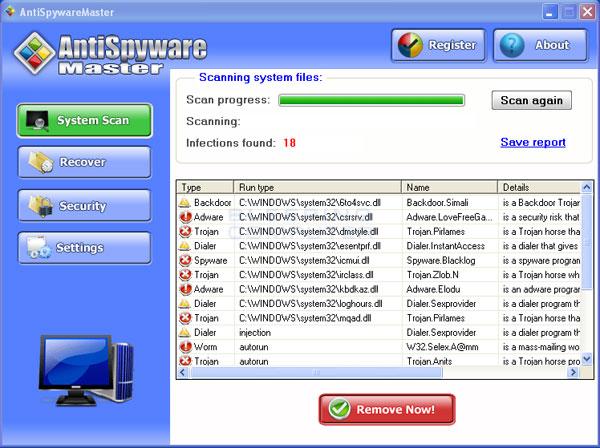 AntiSpywareMaster Scan Results