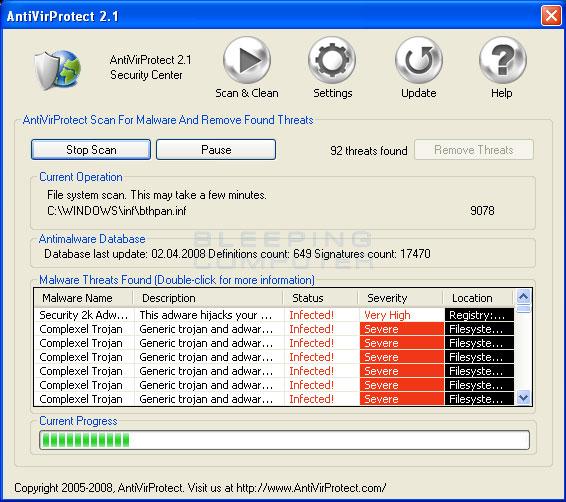 AntiVirProtect Screenshot