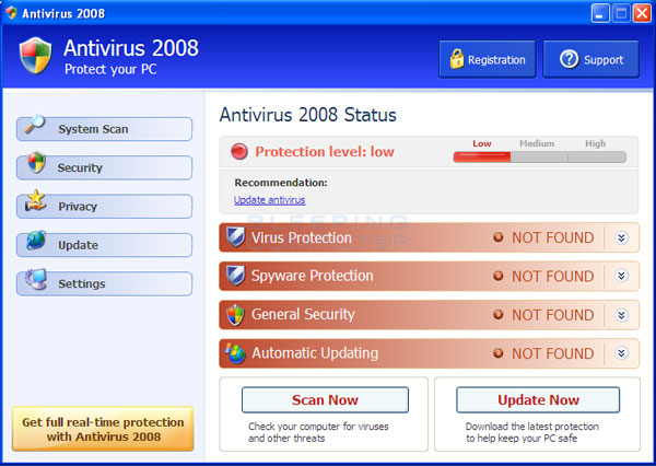 Antivirus 2008 screen shot