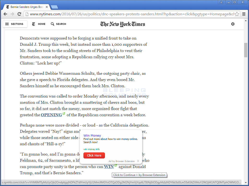 Ad by Browser Extension Ads on the New York Times Site
