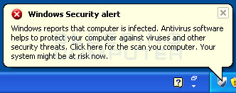 Warning stating that Windows says your infected