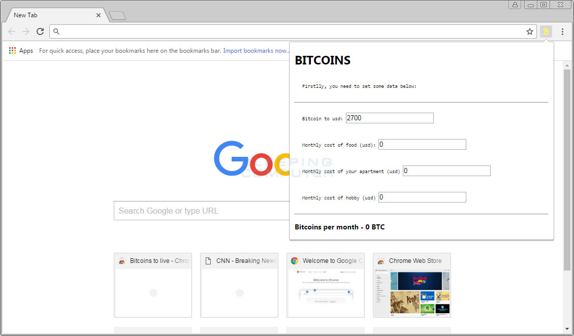 Bitcoins to live Chrome Extension
