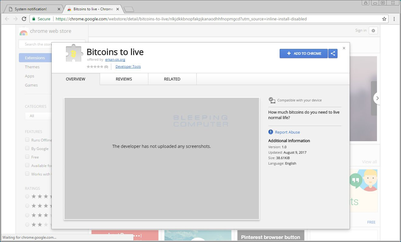 Remove the Bitcoins to live Chrome Extension