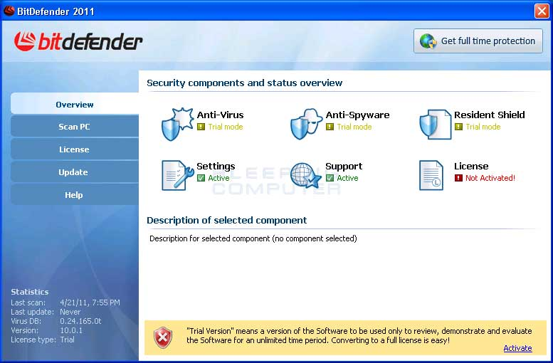 BitDefender 2011 screen shot