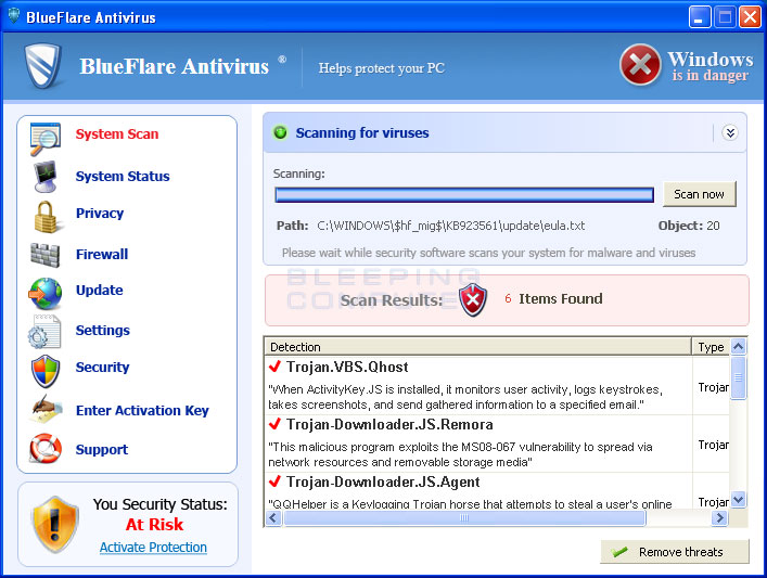 BlueFlare Antivirus screen shot