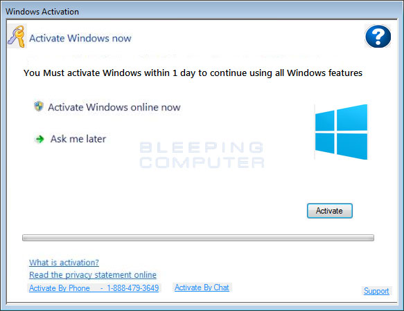 Fake Windows Activation Alert #1