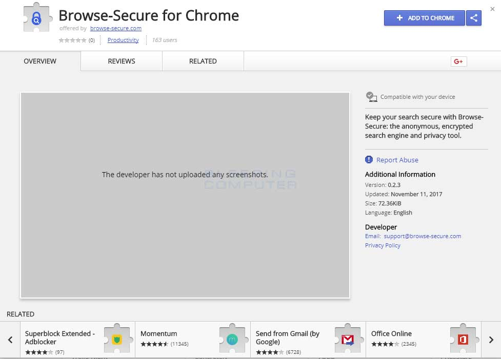 Browse-Secure Chrome Web Store Page