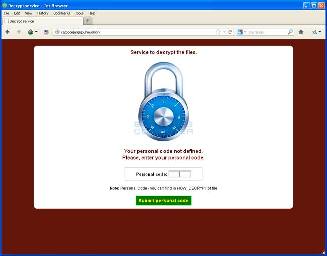 CryptoDefense Giải mã trang web dịch vụ