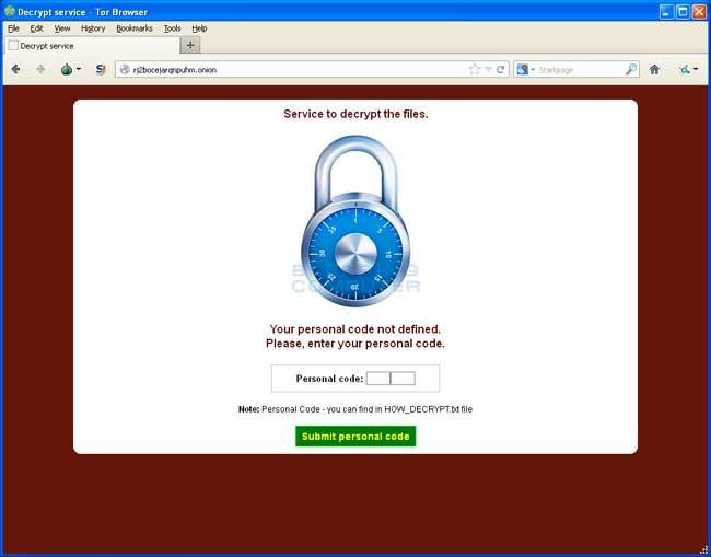 CryptoDefense Decrypt Service Site