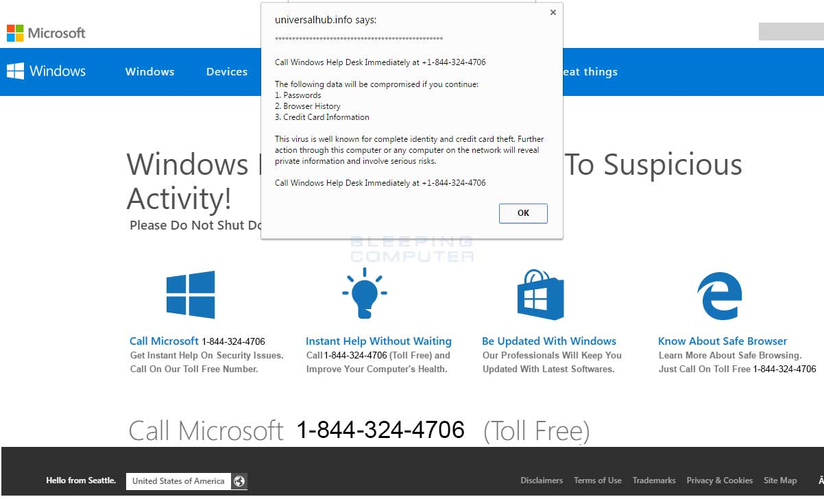Call Windows Help Desk Immediately Tech Support Scam