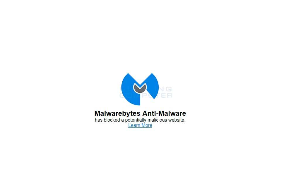 MalwareBytes' blocking a malicious page