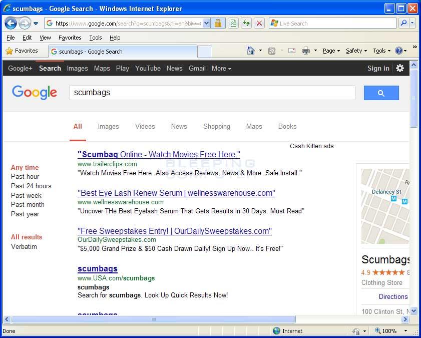 Cash Kitten ads in Google