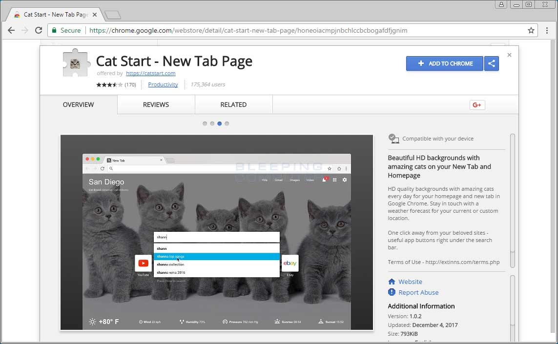 Remove the Cat Start - New Tab Page Chrome Extension