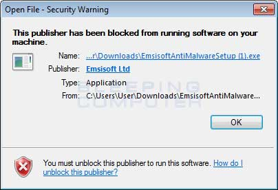 Blocked Emsisoft Installer