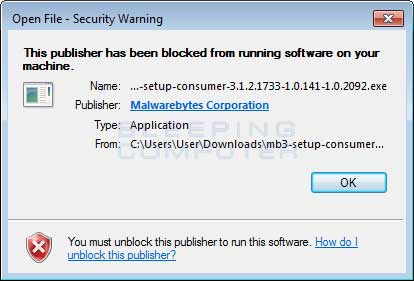 Blocked Malwarebytes Installer