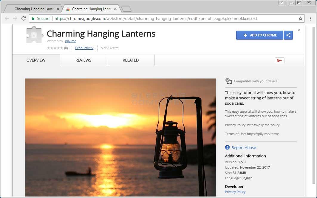 Charming Hanging Lanterns Chrome Web Store Page