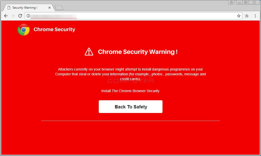 Chrome Security Warning Alert