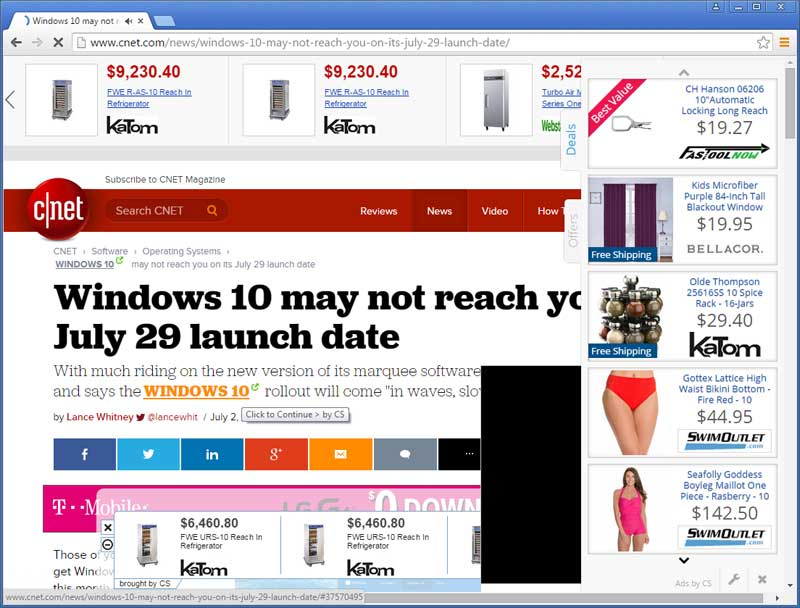 CleverSearch ads on CNET