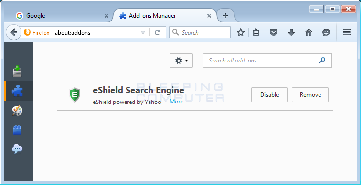 eShield add-on in Firefox