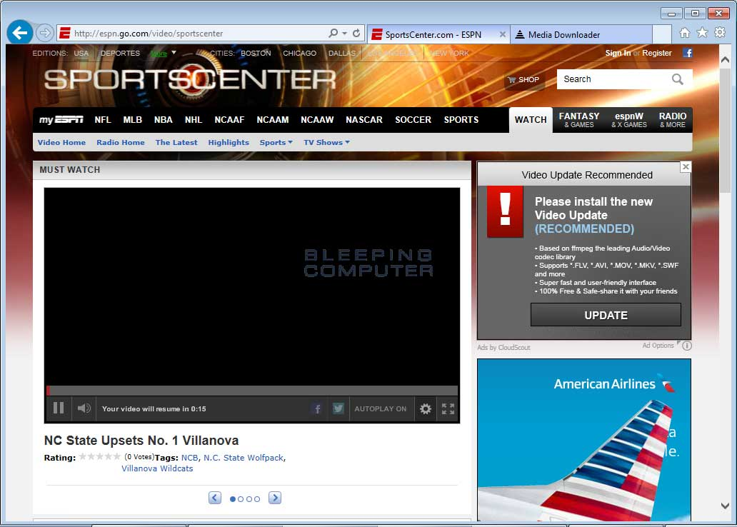 Sportcenter taken over by Cloudscout Ads
