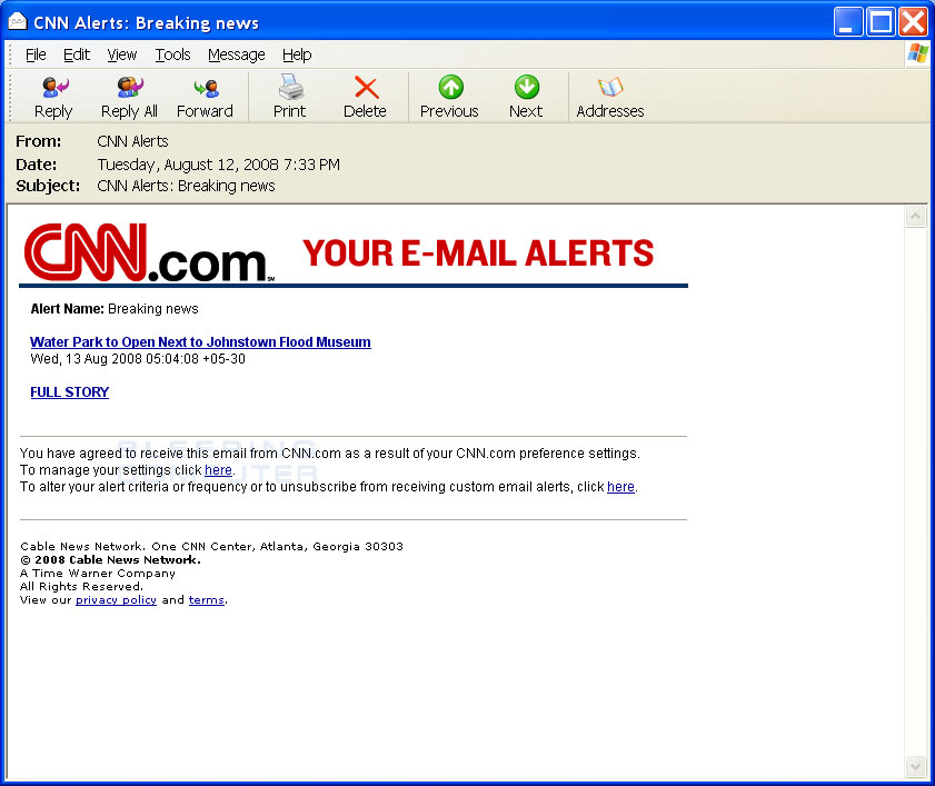 CNN Alerts: Breaking news SPAM e-mail