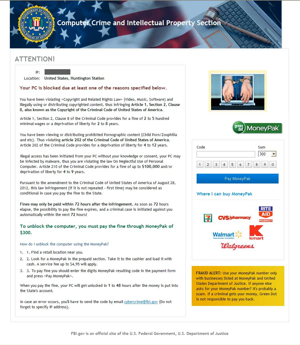 Computer Crime and Intellectual Property Section Ransomware screen shot