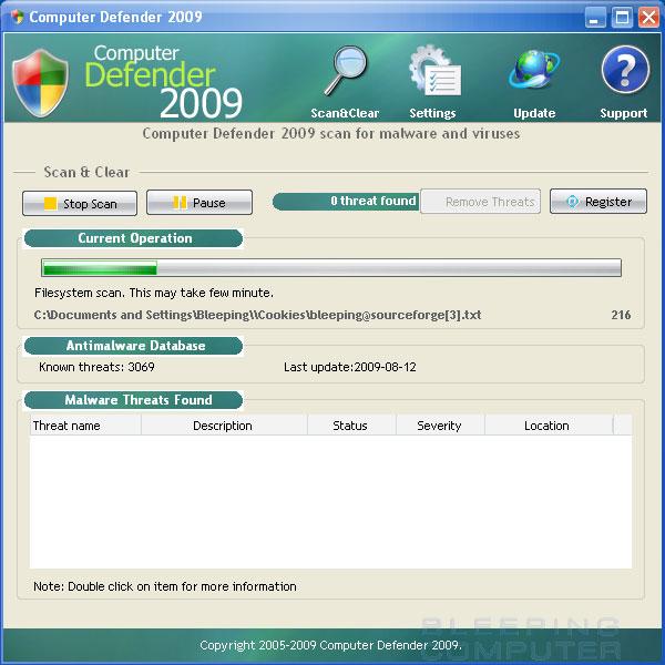 Computer Defender 2009 screen shot
