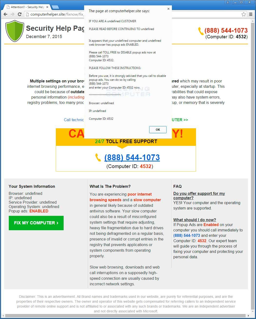 Fake Security Alert from Computerhelper.site