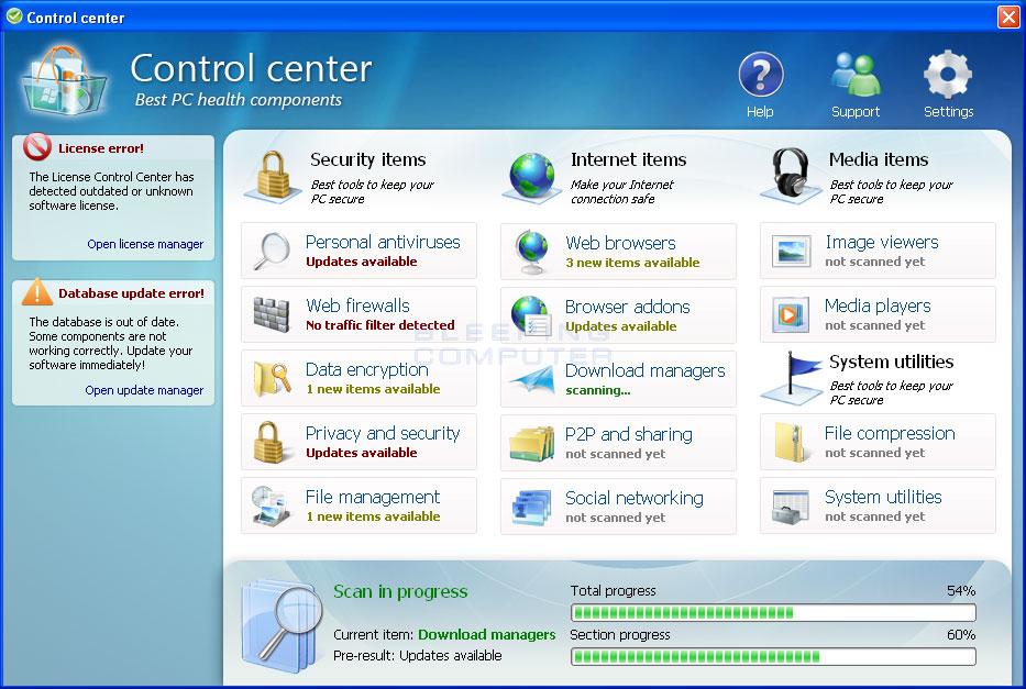 Control Center screen shot