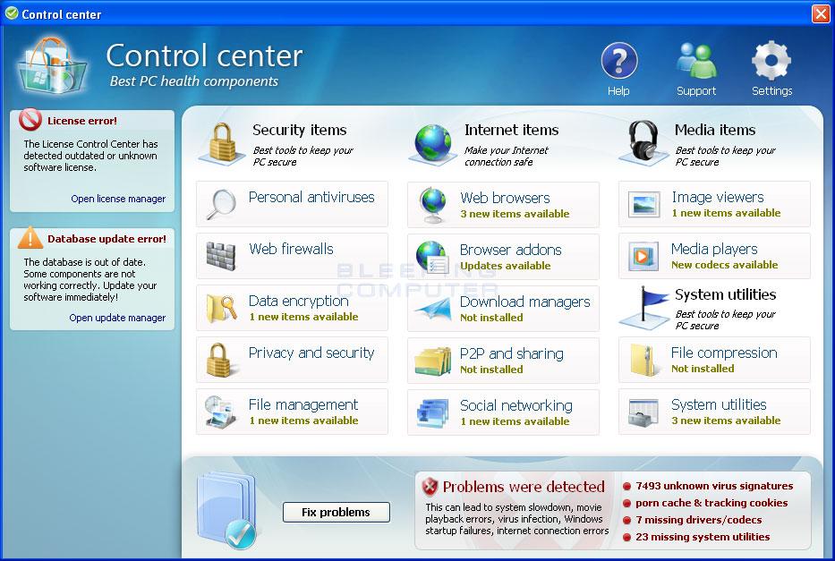 Control Components screen shot