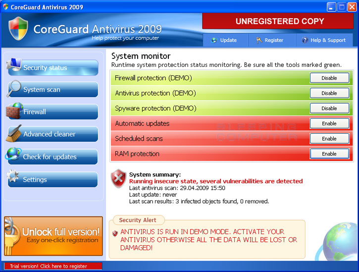 CoreGuard Antivirus 2009 main screen