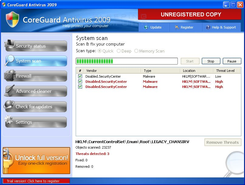 CoreGuard Antivirus scanning screen
