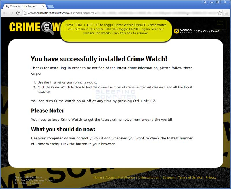 Crime Watch Post Installation screen