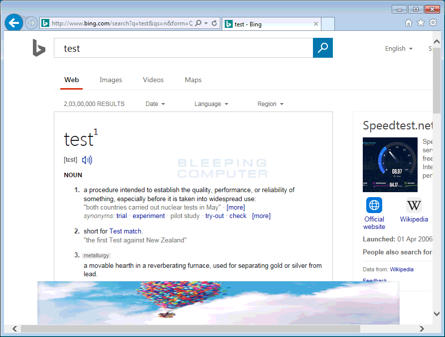 Injected Foot Advertisement in Bing