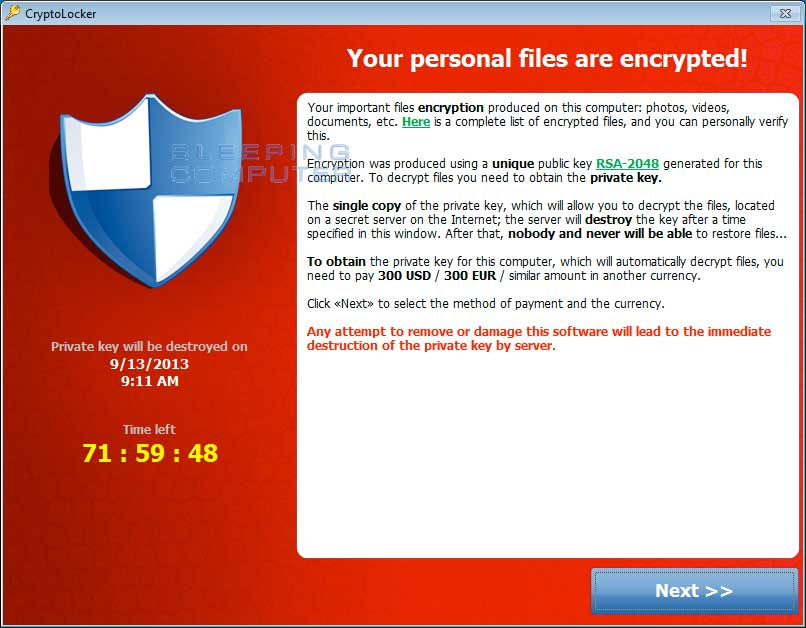 CryptoLocker payment screen