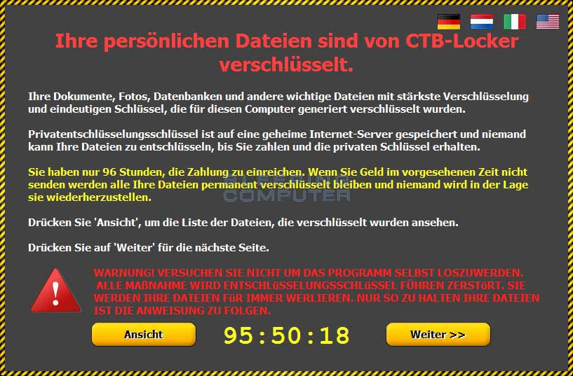 CTB Locker Ransom Screen in German