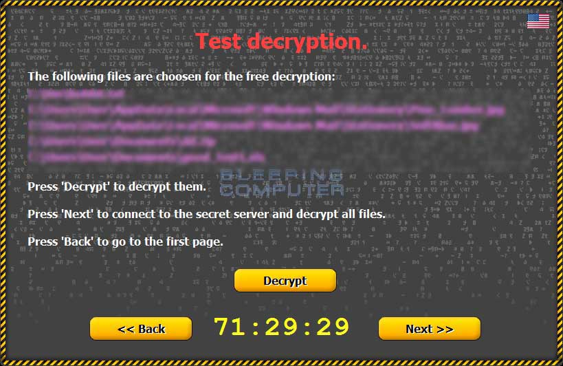 Selected files to decrypt