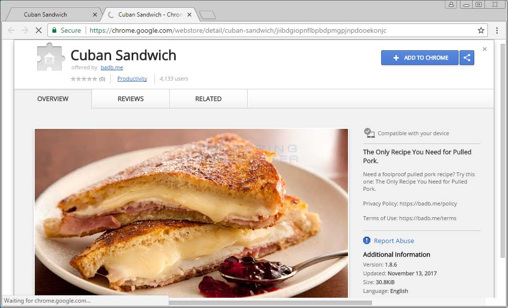 Cuban Sandwich Chrome Web Store Page