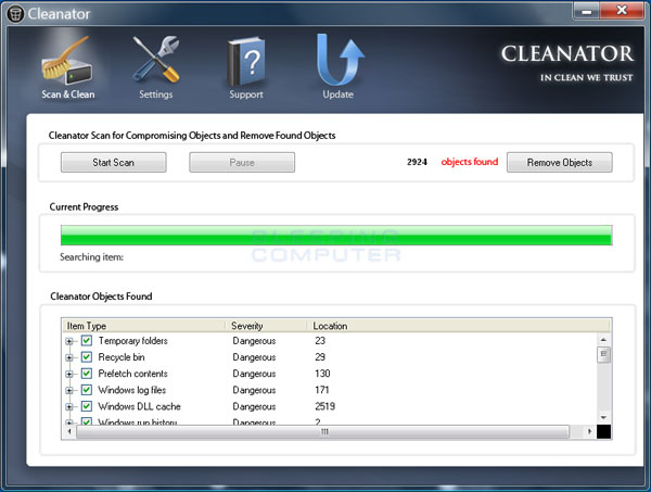 Cleanator Screenshot