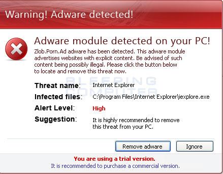 Adware Detected alert