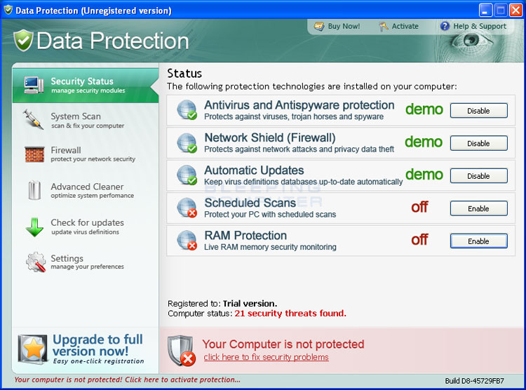 Data Protection screen shot