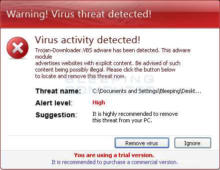 Virus Threat Detected alert