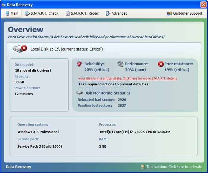 Data Recovery screen shot