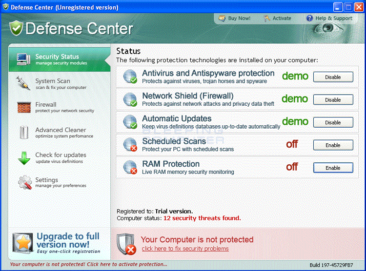 Defense Center screen shot