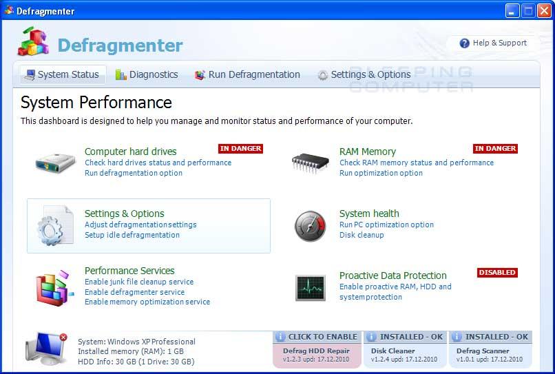 Defragmenter screen shot