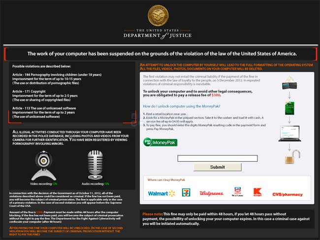 Department of Justice Ransomware screen shot