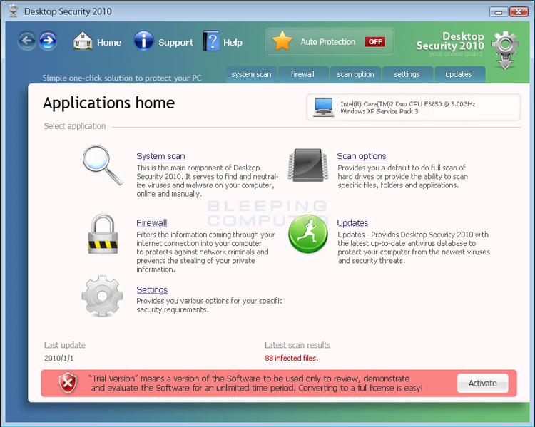 Desktop Security 2010 screen shot