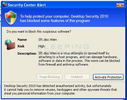 Fakse Security Center Alert